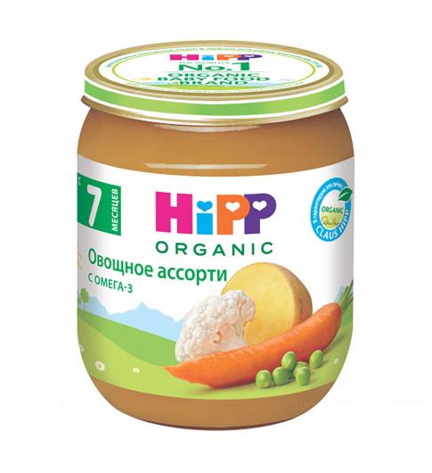 Hipp Пюре Овощное ассорти, 7мес+, 125гр (морковь, картофель, цветная капуста, зеленый горошек)