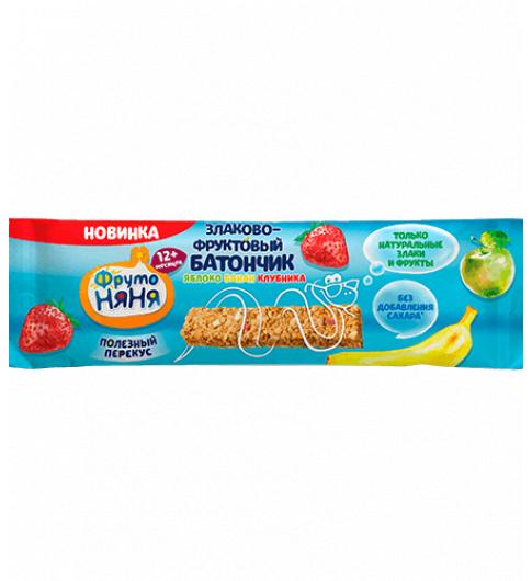 Фрутоняня Злаково-Фруктовый батончик «Яблоко-Банан-Клубника», 12мес+