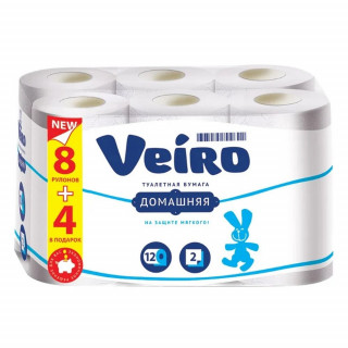 Veiro Туалетная Бумага 2-слойнная 12шт - белая