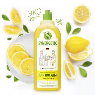 Synergetic Средство для мытья посуды Лимон, 1 литр -  игрушек, фруктов