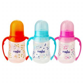 Mepsi Бутылочка для кормления с силиконовой соской, 4мес+, 125 мл - с ручками