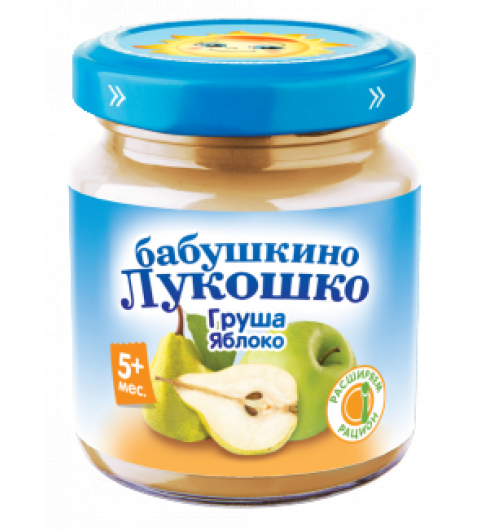 «Бабушкино Лукошко» груша и яблоко, 100 г, 5мес+