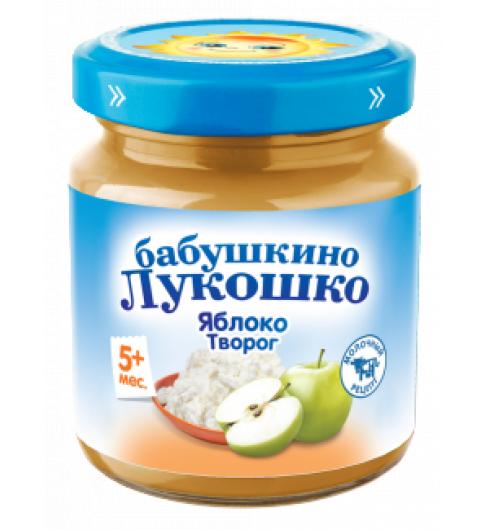 «Бабушкино Лукошко» пюре из Яблок с творогом, 5мес+, 100гр