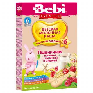 Bebi Premium Каша «Для полдника» Пшеничная с печеньем с малиной и вишней, молочная, 6мес+, 200г