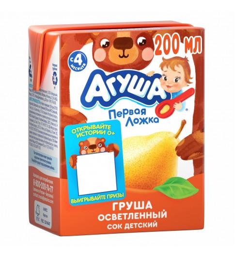 Агуша Сок Груша Осветленный, 6мес+, 200 мл