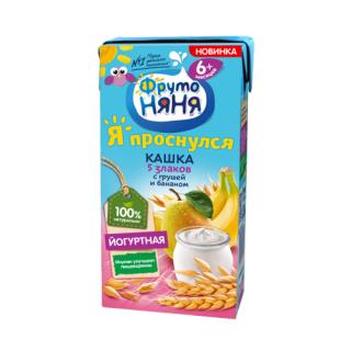 Фрутоняня Кашка Йогуртная 5 злаков с Грушей и Бананом, 6мес+, 200 гр -