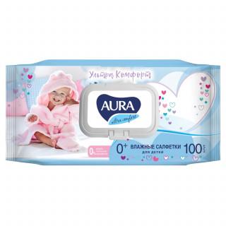 Aura Влажные салфетки для детей Ultra Comfort с витамином Е и алоэ, 100шт