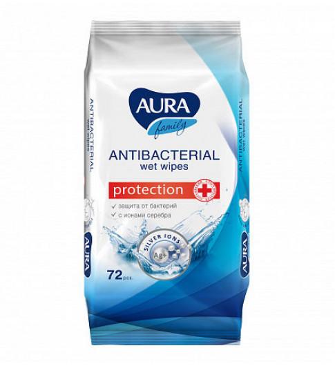 Aura Влажные салфетки Антибактериальные с ионами серебра, 72 шт