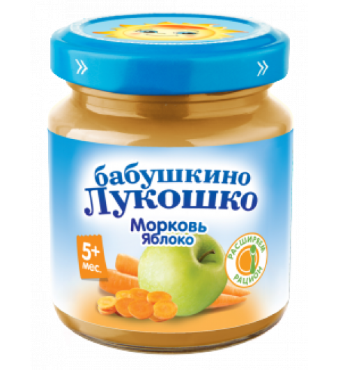 «Бабушкино Лукошко» морковь с яблоком, 5мес+, 100 гр