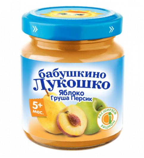 «Бабушкино Лукошко» Яблоко, Груша, Персик, 5мес+, 100гр