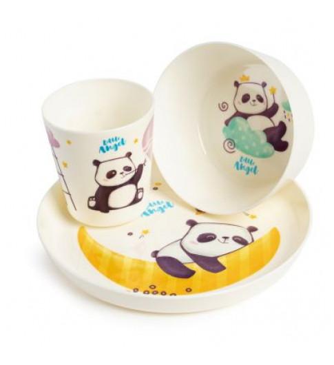 Little Angel Набор детской посуды Panda, 3 предмета (миска, тарелка, стаканчик)