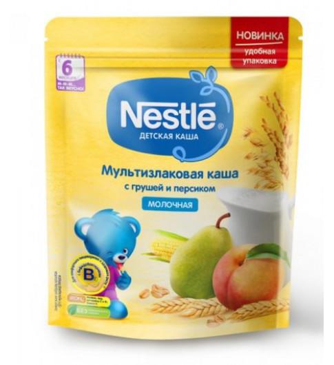 Nestle Каша Мультизлаковая с грушей и персиком, молочная, 6мес+, 220гр  Нестле