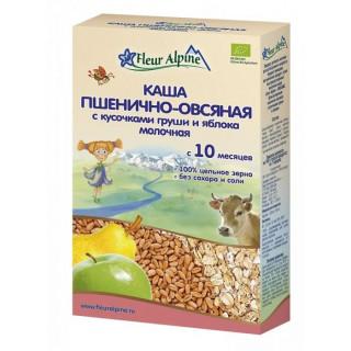 Флер Альпин (Fleur Alpine)  Молочная Пшенично-овсяная каша с кусочками груши и яблока с 10 мес. 200 г