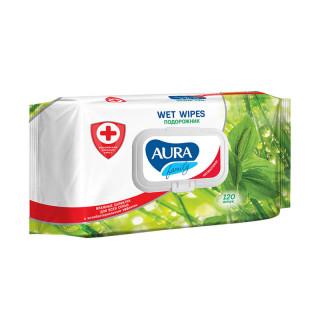 Aura FAMILY влажные салфетки «Подорожник», антибактериальные, 120 шт