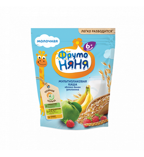 ФрутоНяня Каша молочная мультизлаковая яблоко-банан-земляника, 6мес+, 200гр