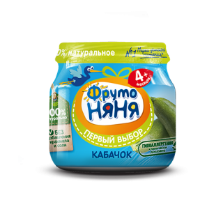 ФрутоНяня пюре Кабачок (чистый), 4мес+, 80гр