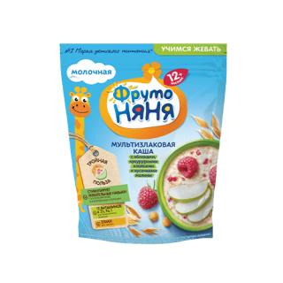 ФрутоНяня мультизлаковая молочная с яблоками кукурузными хлопьями и кусочками малины, 12мес+, 200 гр