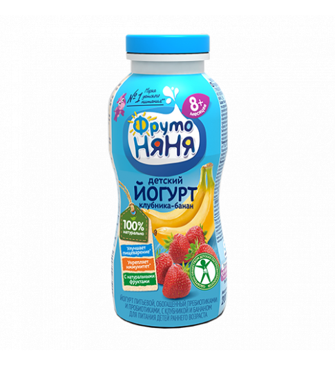 Фрутоняня Йогурт Клубника Банан, 8мес+, 200 гр