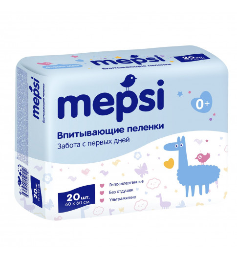 Mepsi Детские впитывающие пеленки, 60×60, 20 шт