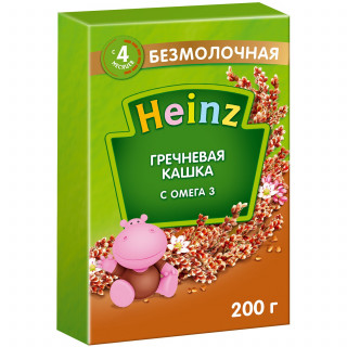 Heinz Каша Гречневая с Омегой-3, безмолочная, 4мес+, 200 гр С САХАРОМ ХАЙНЦ