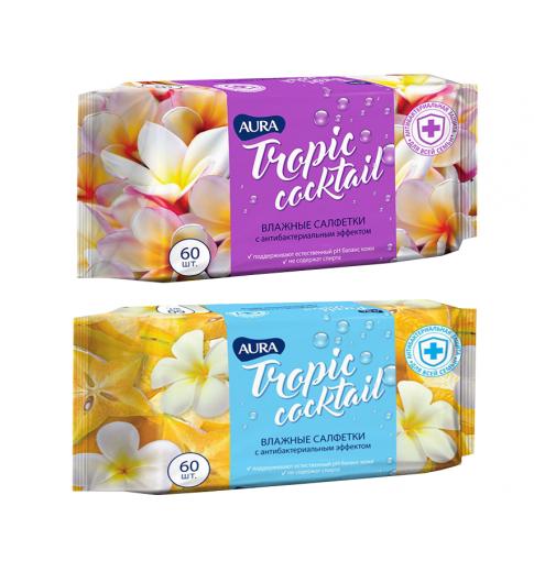 Aura Tropic Cocktail Салфетки влажныеантибактериальные 60шт