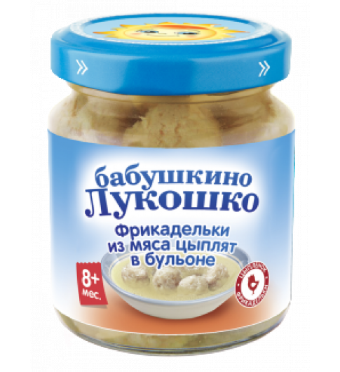 «Бабушкино Лукошко» Фрикадельки из мяса цыплят в бульоне пюре, 8 мес., 100 г