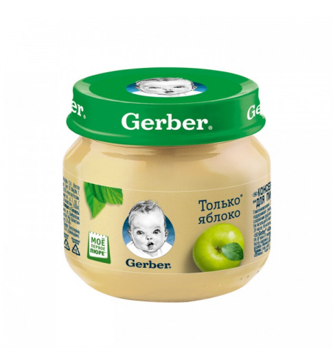 Gerber пюре Яблоко, 4мес+, 80 гр Гербер