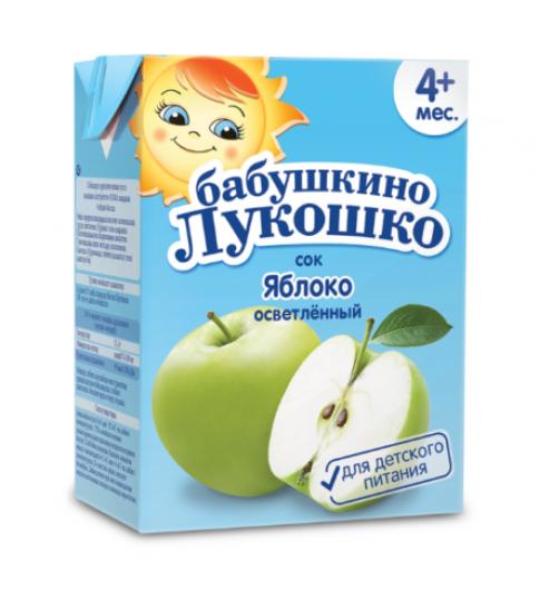 «Бабушкино Лукошко» Сок яблочный осветленный, 4мес+, 0,2л