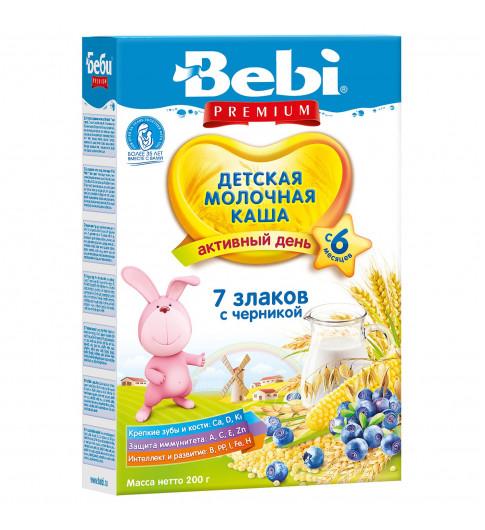 Bebi Premium Каша молочная, 7 злаков с черникой, 6мес+, 200гр