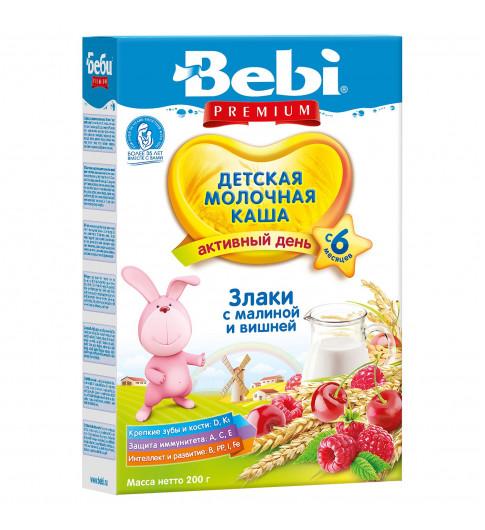 Bebi Premium Каша молочная злаки с малиной и вишней, 6мес+, 200гр