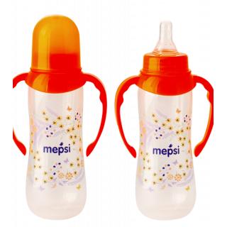 Mepsi Бутылочка для кормления с силиконовой соской, 4мес+, 250 мл - с ручками