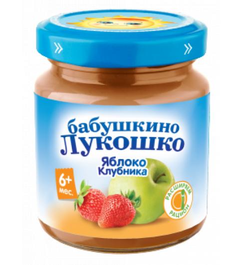 «Бабушкино Лукошко» Пюре из яблок и клубники, 5мес+, 100 гр