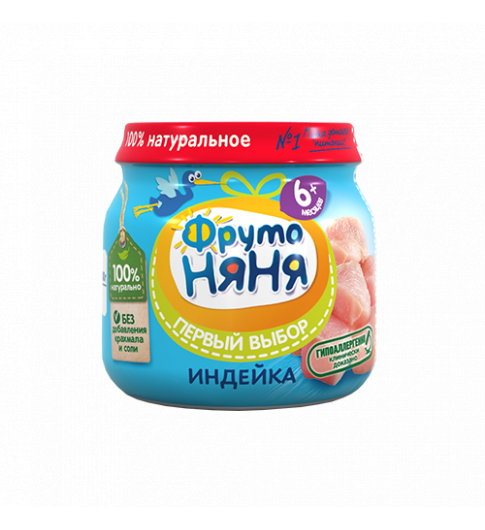 ФрутоНяня пюре Индейка, 6мес+, 80 гр