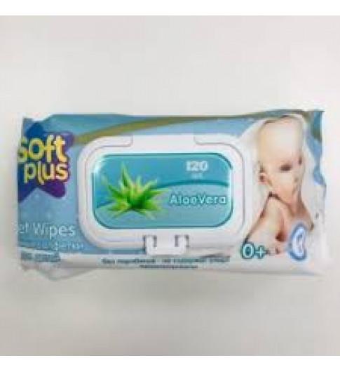 Soft Plus влажные салфетки для детей, без спирта, 120 шт, 0мес+, алое