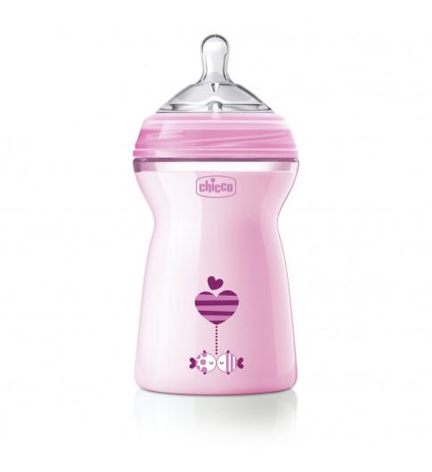 Chicco Бутылочка розовая Natural с силиконовой соской, 6мес+, 330 мл