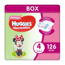 Huggies Подгузники Ультра Комфорт 4 для девочек, 8-14кг, 126 шт Хаггис