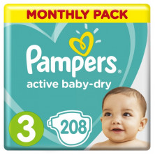 Пампeрs Подгузники Active Baby-Dry р.3 (6-10 кг) 208 шт