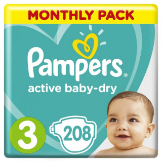 Pampers (Памперс) Подгузники Active Baby-Dry р.3 (6-10 кг) 208 шт