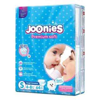 Joonies PremiumSoft Подгузники S 4-8 кг, 64 шт