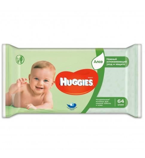 Huggies Влажные салфетки Elite Soft с Алоэ Вера, 64 шт