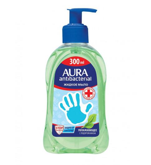 Aura жидкое мыло для рук антибактериальное Подорожник, 300 мл