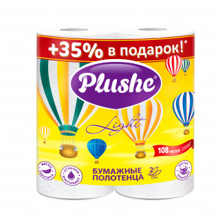 Plushe Light Полотенце Бумажное , 2 рул 10,8 м, 2 слоя, белый