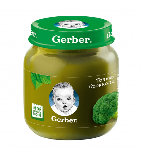 Gerber пюре Брокколи, 4мес+, 130 гр
