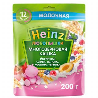 Heinz Любопышка молочная йогуртная слива, малина, черника, яблоко, 12мес+, 200 гр