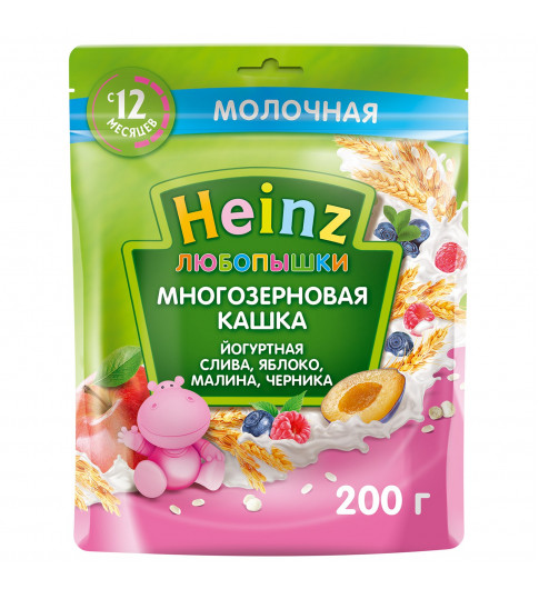 Heinz Любопышка йогуртная слива, яблоко, малина, черника, 12мес+, 200 гр Хайнц