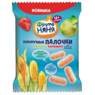 Фрутоняня Палочки кукурузные яблоко-клубника 20г, 12мес+