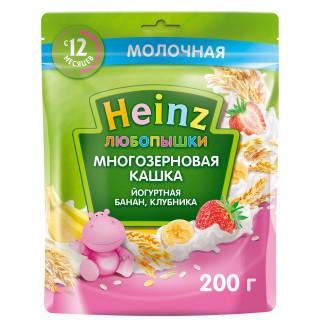 Heinz Любопышка молочная йогуртная Банан, Клубника, яблоко, 12мес+, 200 гр