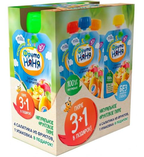 ФрутоНяня Мультипак пюре салатик из фруктов 3+1 шт в подарок
