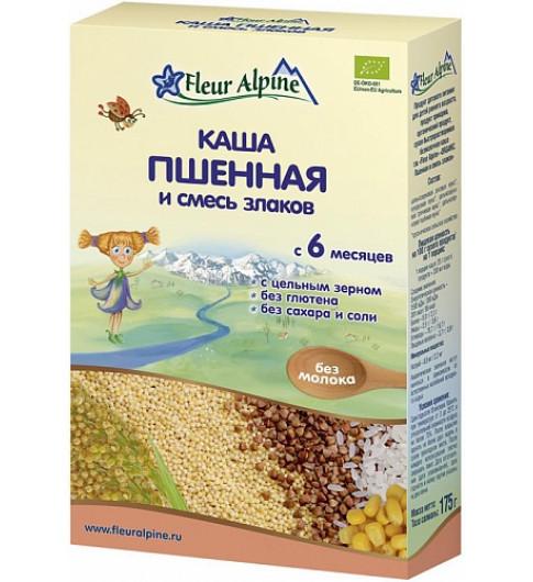 Флер Альпин (Fleur Alpine) ORGANIC Каша Пшенная и смесь злаков, 175гр, 6мес+