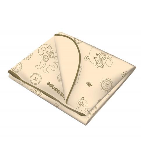 Inseense Клеёнка 50х70 см подкладная с ПВХ-покрытием с отделкой тесьмой (бежевый с рисунком) - Инсайнс